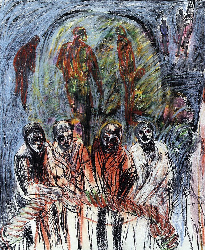 """Graça Morais, """"A caminhada do medo"""", VIII, 2011 (pormenor)"""